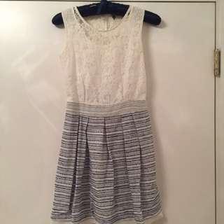 韓國米白lace 連身裙 free size