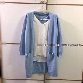 秋季貨品👚東大門韓國款BABY粉藍色針織外套