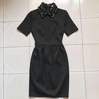 LB Leather Flower Collar Dress (Black)
