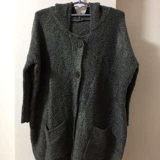 🚚 全新 深灰綿綿羊連帽寬鬆長版外套