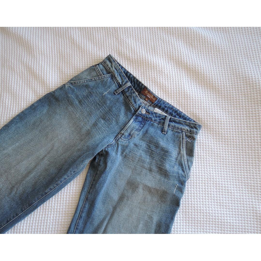 90s Wide-Leg Aztec Rose Jeans Low Waist sz 10
