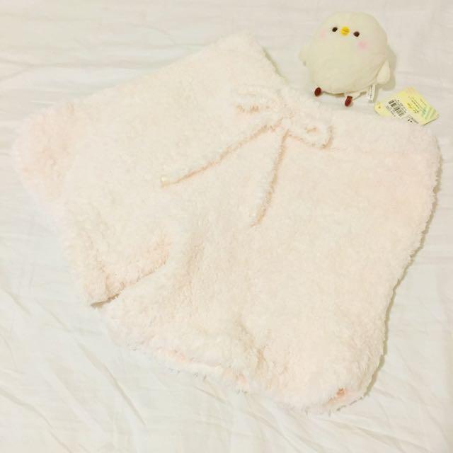 日系軟綿綿蝴蝶結口袋淡粉色短褲睡褲