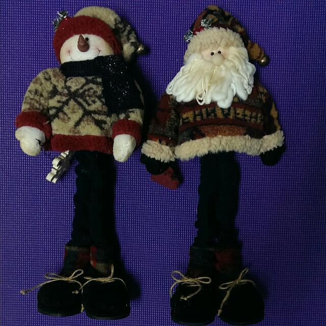 二手@聖誕節聖誕老人&雪人長腳站立裝飾-ㄧ對
