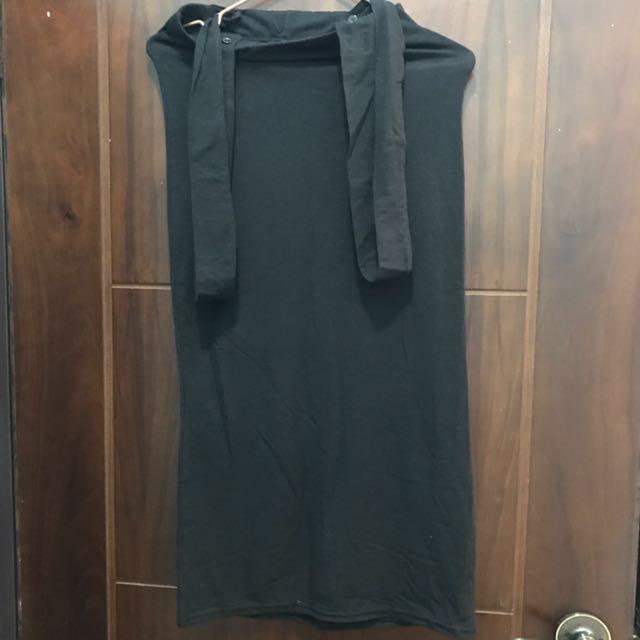 全新純黑色吊帶長裙(吊帶可拆)