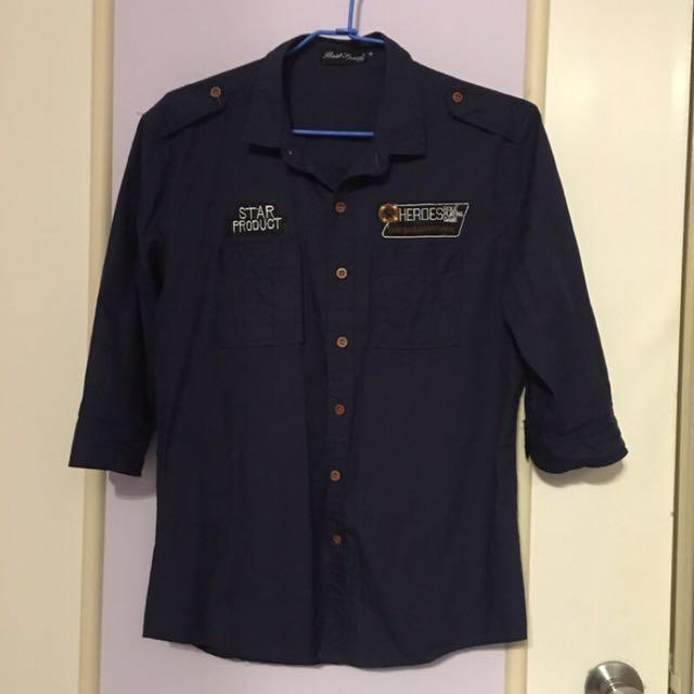 深藍七分袖襯衫#兩百元襯衫