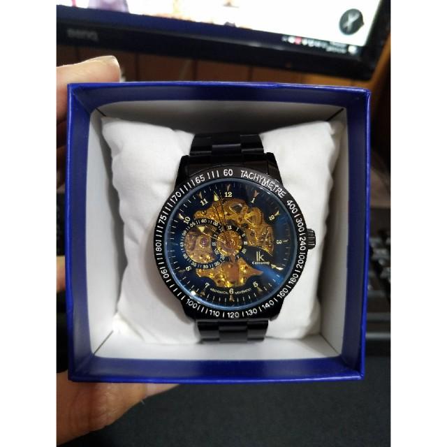 ik colouring 全自動鏤空機械錶 (藍光反射鏡面)(贈皮革錶帶)