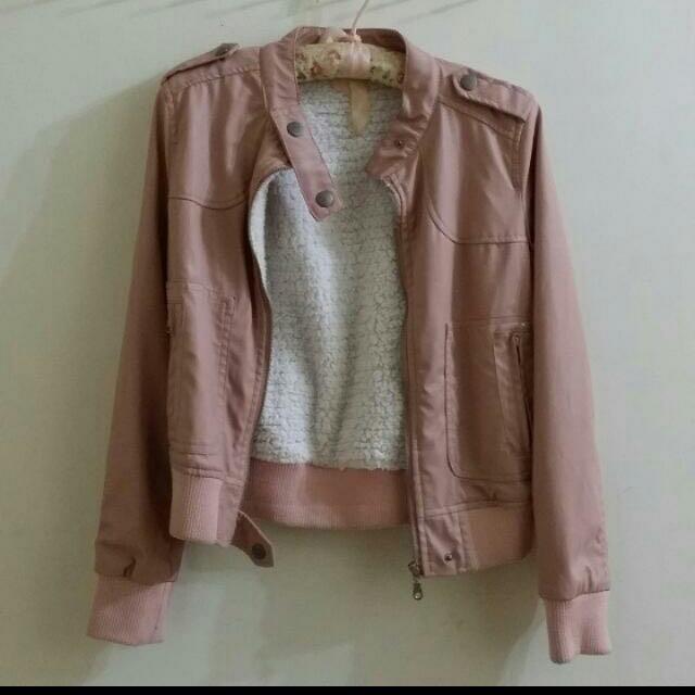 韓版內舖毛粉藕色皮衣夾克#手滑買太多