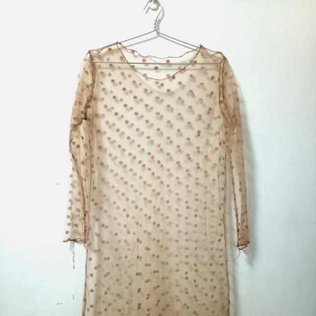 淺棕色茶色點點內搭外搭透視紗洋裝