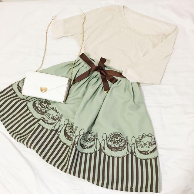 日本森林系波點水玉邊領針織上衣