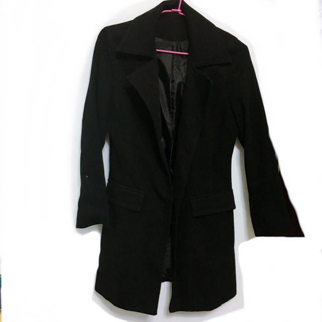 黑色質感長版西裝式挺版外套大衣