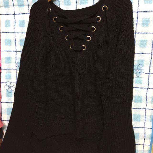 胸前綁帶穿線針織毛衣上衣喇叭袖