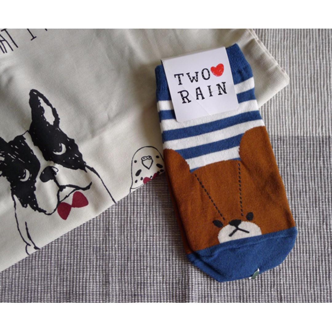全新韓國條紋大臉熊襪