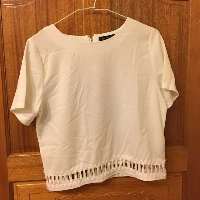 白色雪紡短袖