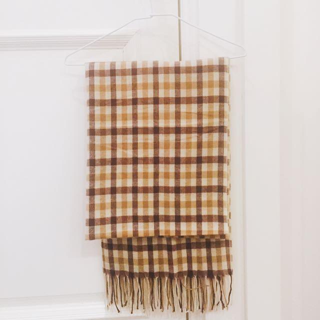圍巾格子米色咖啡色