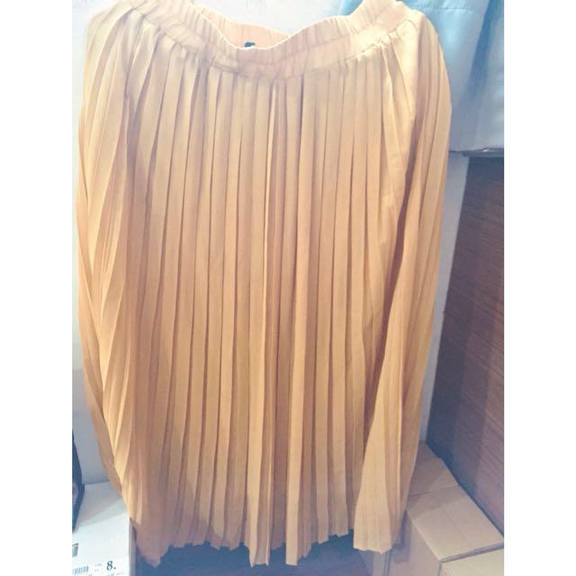 黃色雪紡百摺長裙