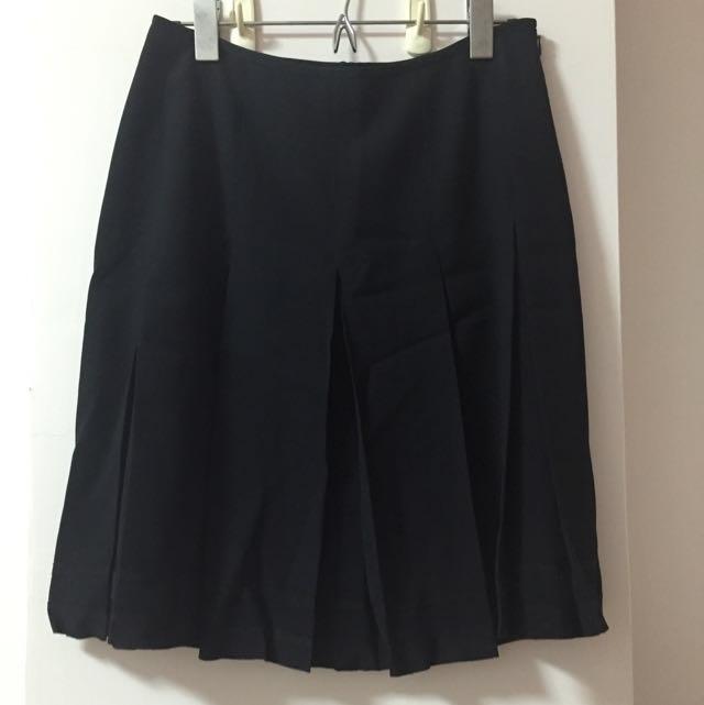 日式學院高腰黑色百褶短裙