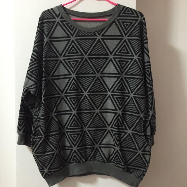 幾何圖形寬版休閒上衣