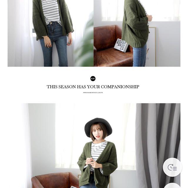 厚實針織麻花雙口袋開襟外套 墨綠/米色/純白