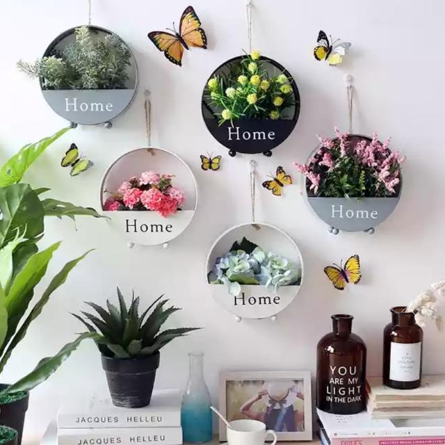 北歐房間牆飾 花盆花籃花朵 牆壁裝飾
