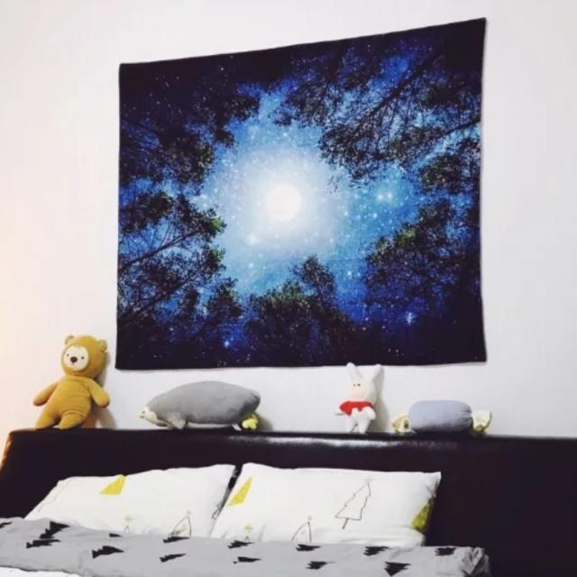 森林星空 掛布背景布 牆壁裝飾 牆掛