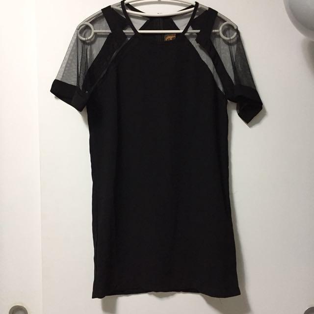 黑色 紗網 透膚 洋裝 #交換最划算