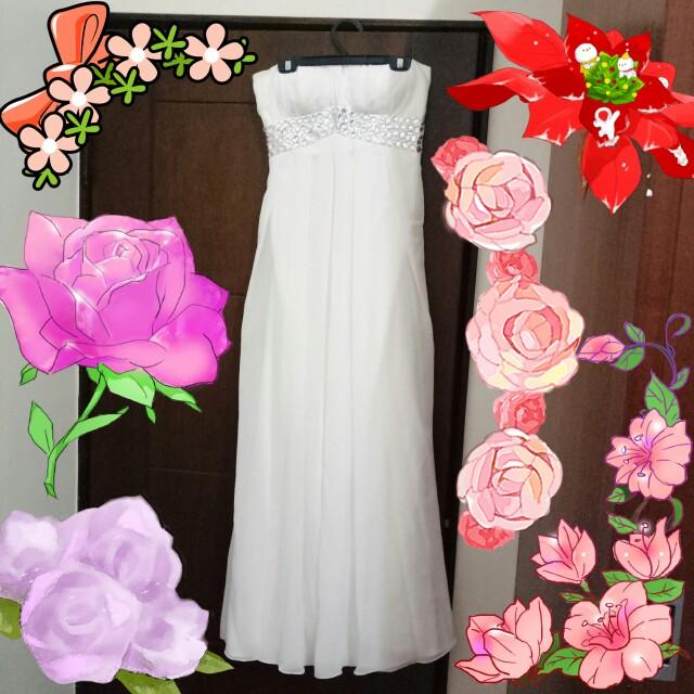 露肩平口 寶石裝飾氣質顯瘦 長版洋裝 伴娘服 禮服 高雅白