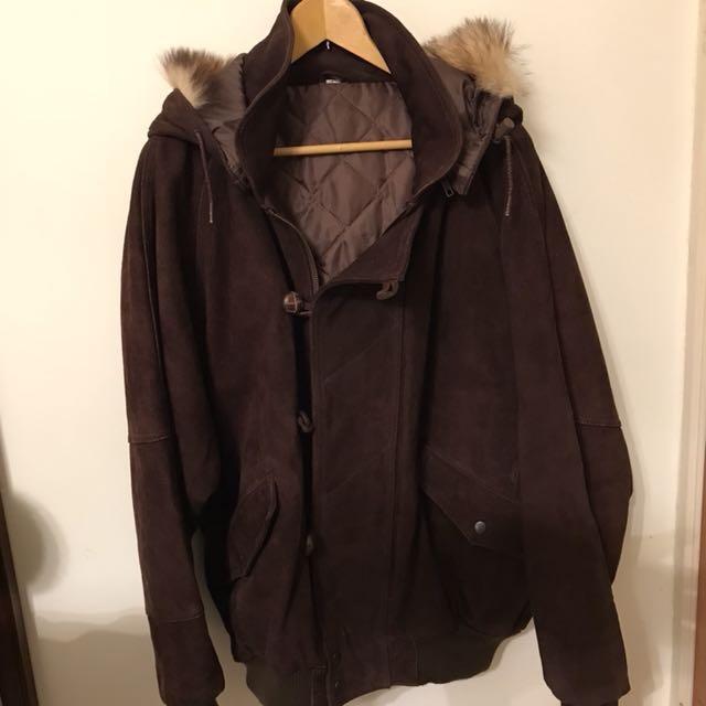 超保暖 毛帽 麂皮 厚鋪棉 大衣 外套 連帽 咖啡色 男款