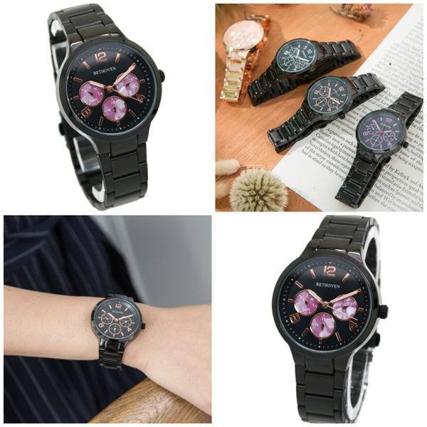 手錶 黑色/ 玫瑰金 三眼造型 簡約數字 迷霧大理石紋 中性錶 BETHOVEN 貝多芬