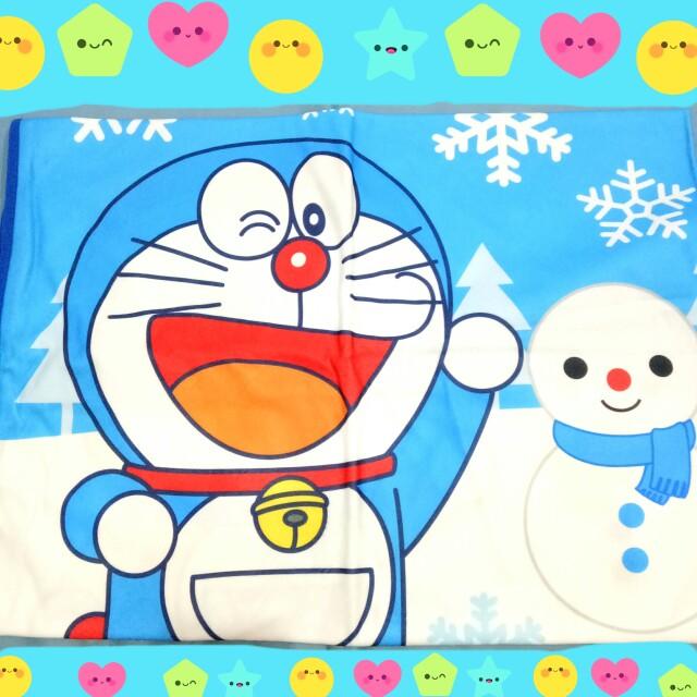 日本限定 哆啦A夢哆啦美×SEGA遊戲株式會社 雪人圖案毯子 日本景品