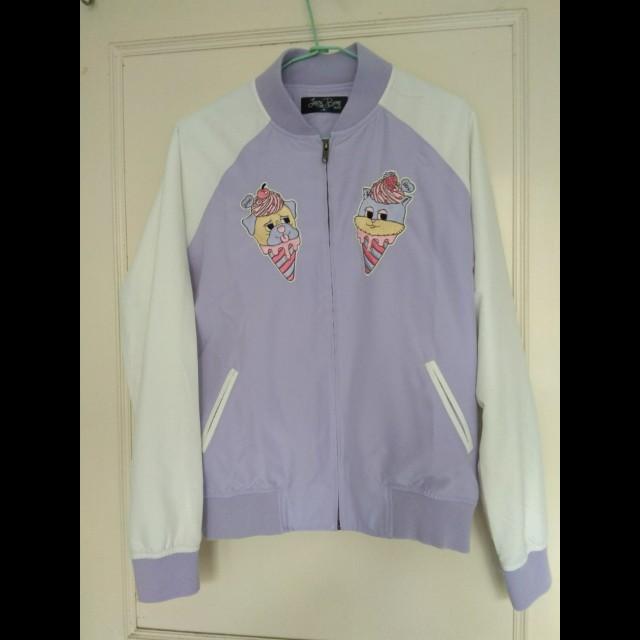 含運 lazybone sweet animals 粉紫配色夾克 棒球外套