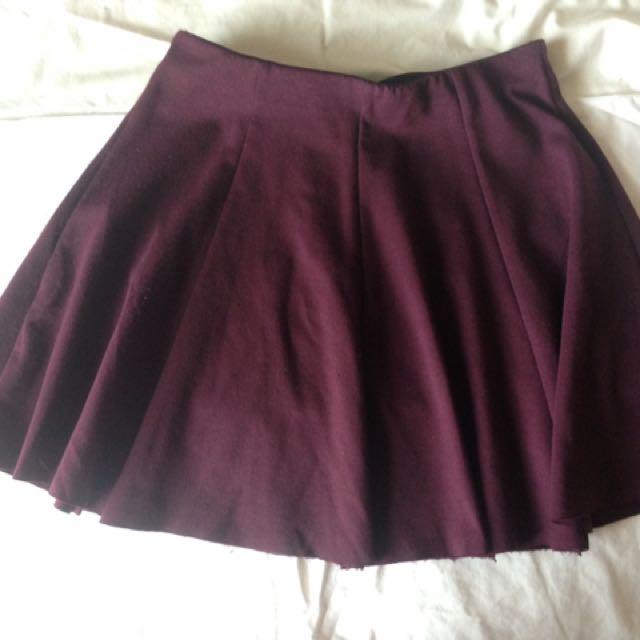 🌹 Maroon Skater Skirt