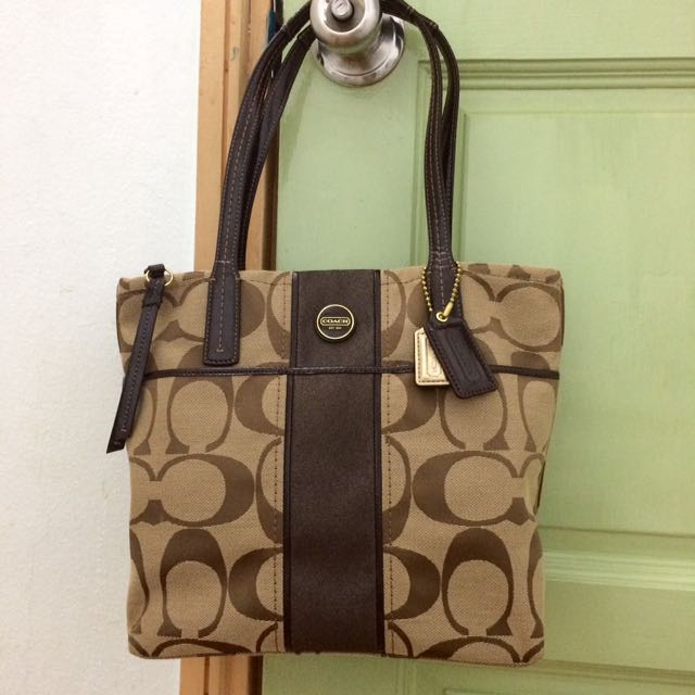 723b7f0f7314 [Authentic] Coach Signature Stripe Tote Khaki Mahogany