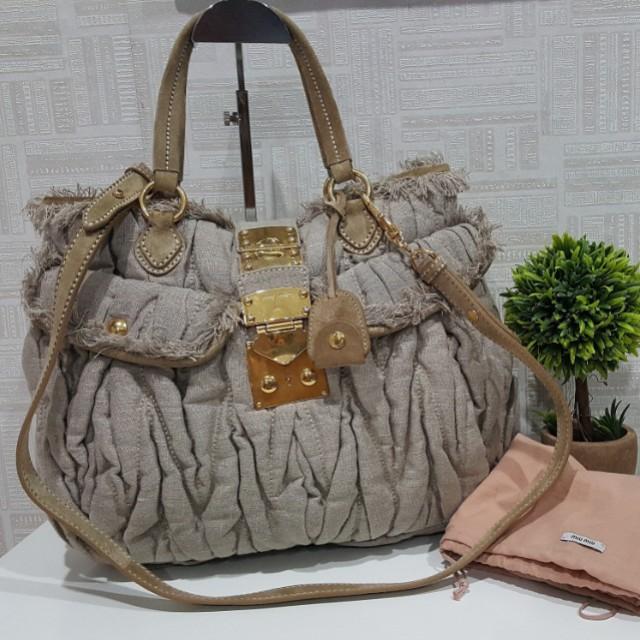 f28bd1eaf77d Authentic Miu Miu Matelasse Denim Quilted Tote Shoulder Bag