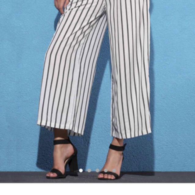 Black & white striped culottes