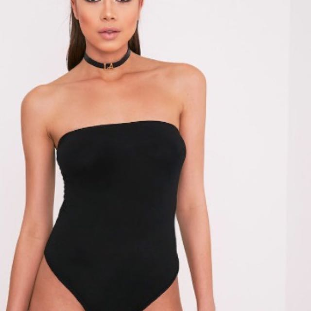 Black bandeau bodysuit