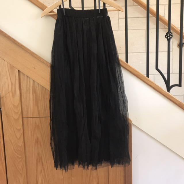 Black chiffon tutu long skirt sz8