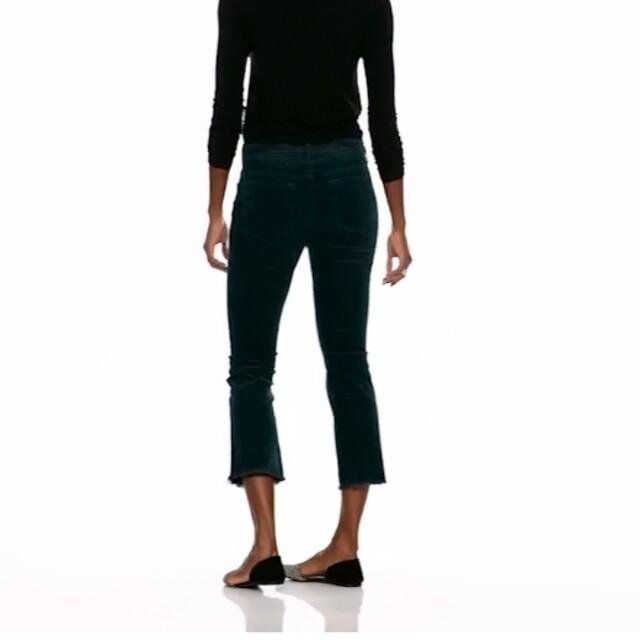 Black Corduroy Cropped Flare Pants