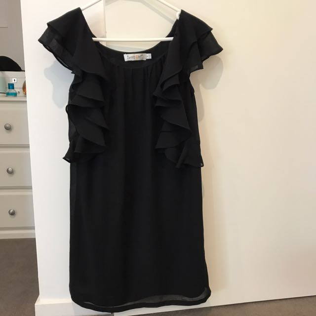 Black dress with ruffle sleeves size 8