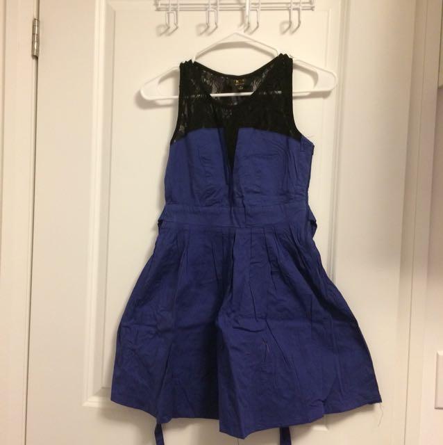 Blue dress with black lace back