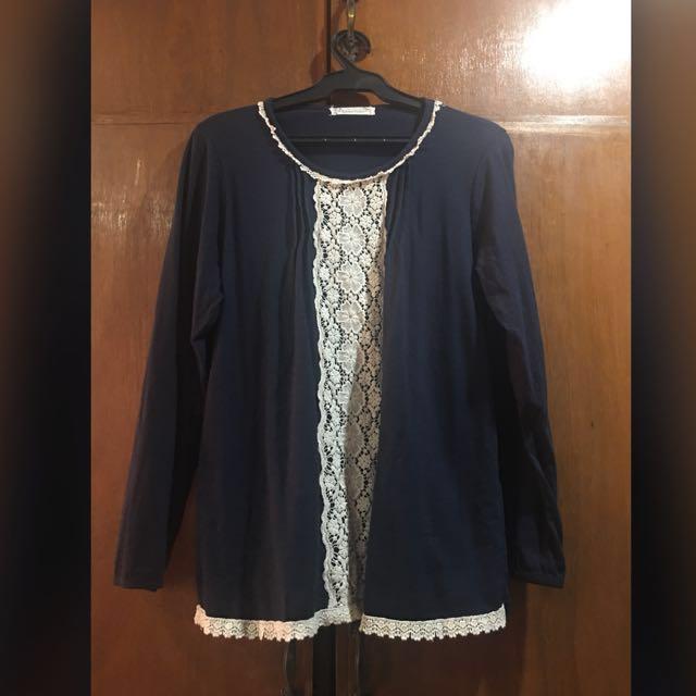 Blue Raffled Long Sleeves Top (Plus Size)