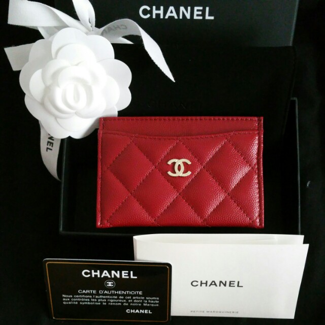 59c7bdda31b3 BNIB Chanel Classic CC Card Holder Case Red Caviar GHW, Luxury, Bags &  Wallets on Carousell