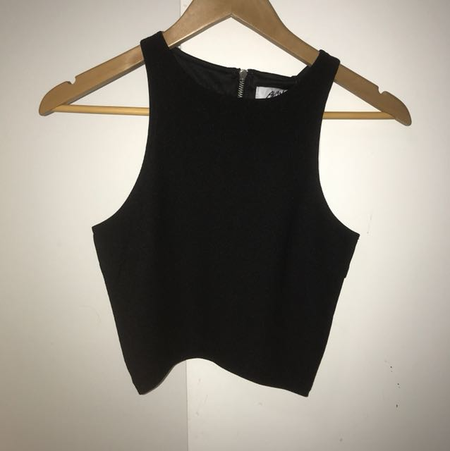 BNWT Ava and Ever Ribbed Crop Black size 8