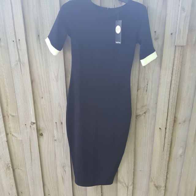 BOOHOO.COM black and white midi dress size 6