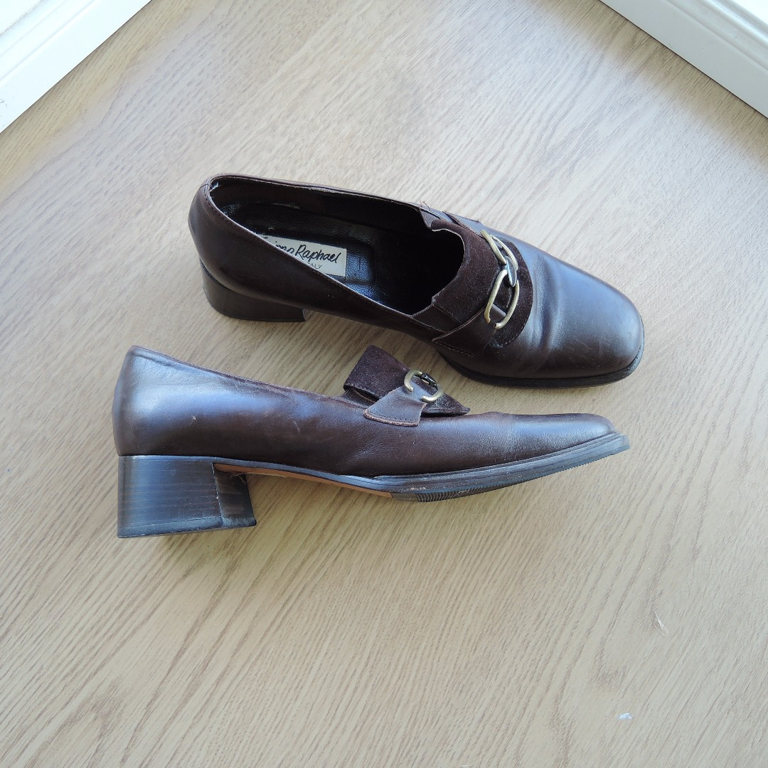 Brown Genuine Italian Leather Chain Shoes Square Heel sz 38 1/2