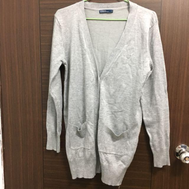 含運!caco 灰色 薄針織 針織 外套#手滑買太多