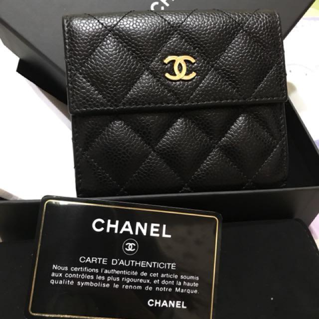 Chanel荔枝金釦皮夾
