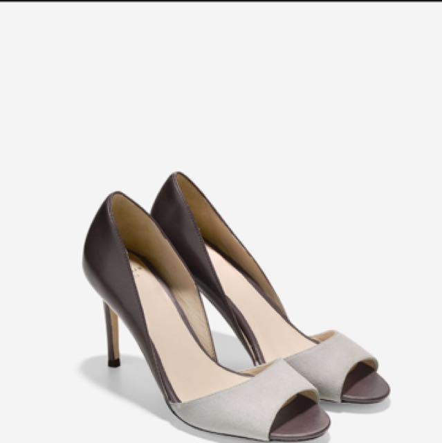 Cole Hann Antonia Ot. Pump Peep Toe Suede Heels Size 6