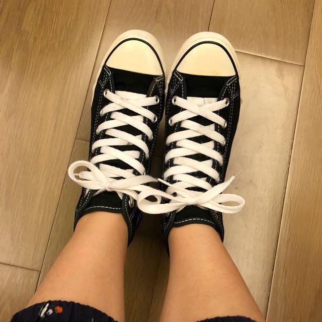 Converse 黑色高筒增高帆布鞋 23號