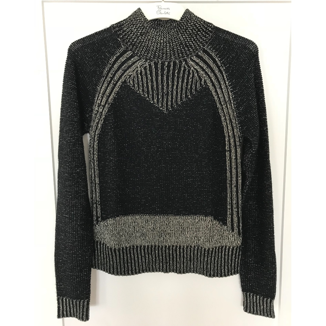 CUE Black and Gold high neck knit - Size S