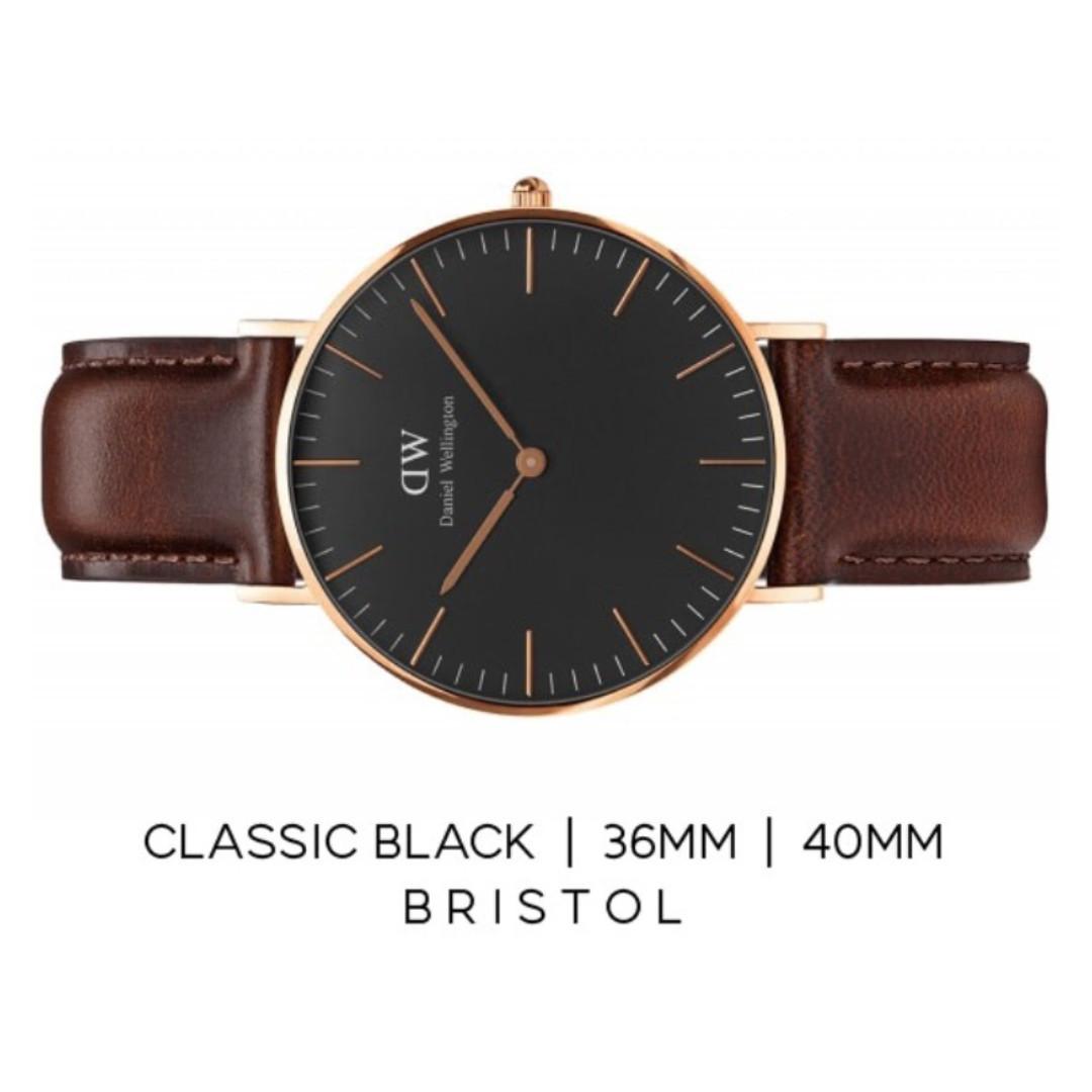 d40cfb5e1a02 Daniel Wellington Classic Black Rose Gold Watch (40mm Bristol ...